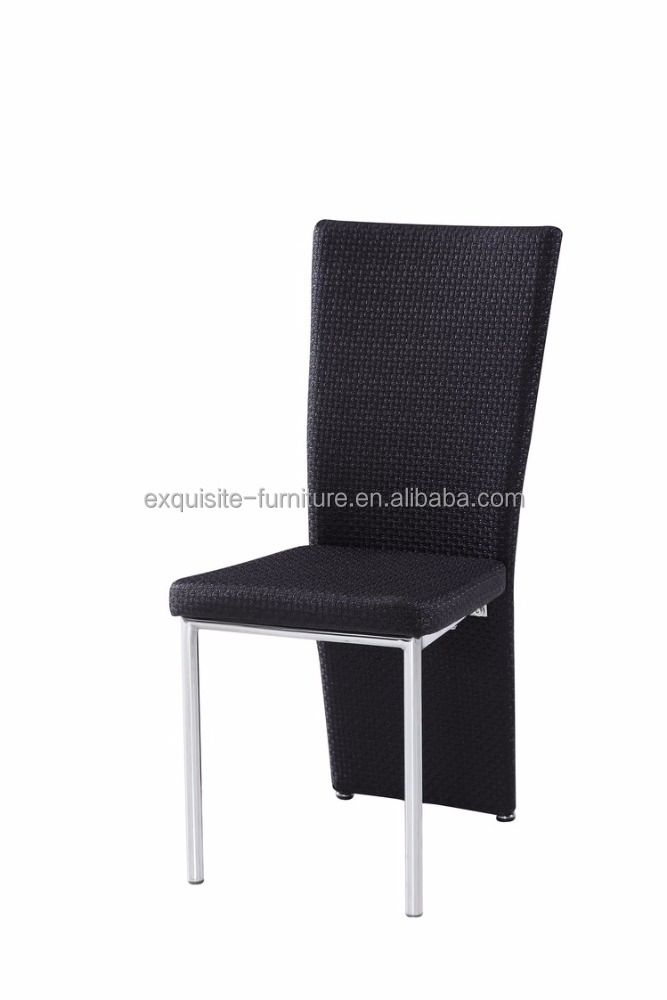 black fabric long back dining chair with chromed leg