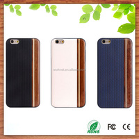 for wooden case iPhone6s 6s plus, blank hard back wood leather case phone bumper for iPhone 6s 6s plus