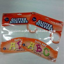 Clear & gross plastic zipper food packaging bag with zipper and a hole handle