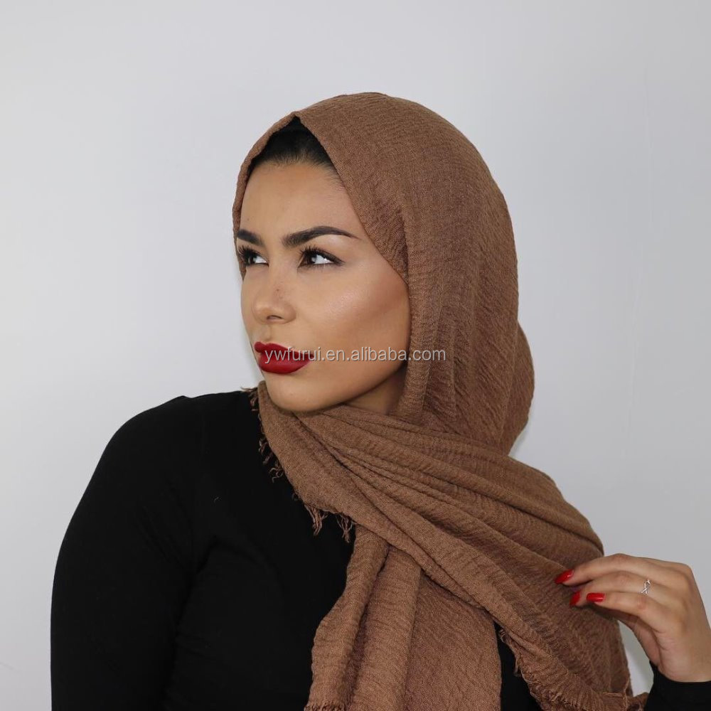 Plain Hot Sale Crinkle Cotton Hijab High Quality Pure Color Large Size Premium Winter <strong>Scarf</strong>