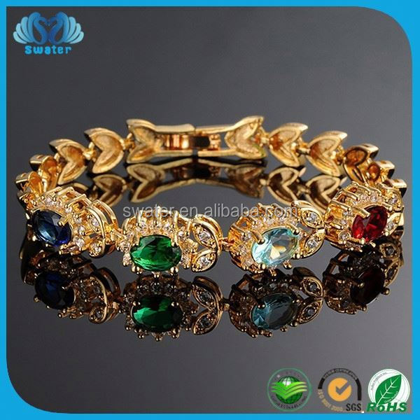 Colorful Natural Stones Engrave Gold Plated Bracelet 24Kt Gold Bracelet Gold Jewelry