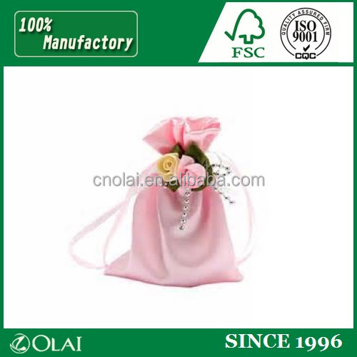 2015 Luxury Natura jewelery gift custom made cotton bag with logo printingl embroideried logo