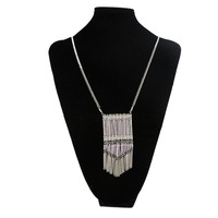 women pink glass beads large tassel collar necklace fashion jewelry