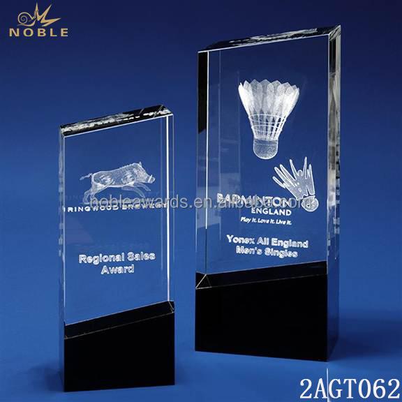 New Custom Crystal Cube Sport Badminton Award Trophy Plaque
