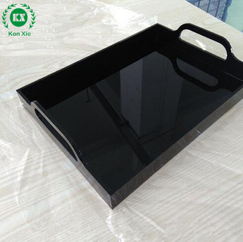 Acrylic trays Displaying Goods Custom Made Square Black Acrylic Serving Tray Daily Necessities