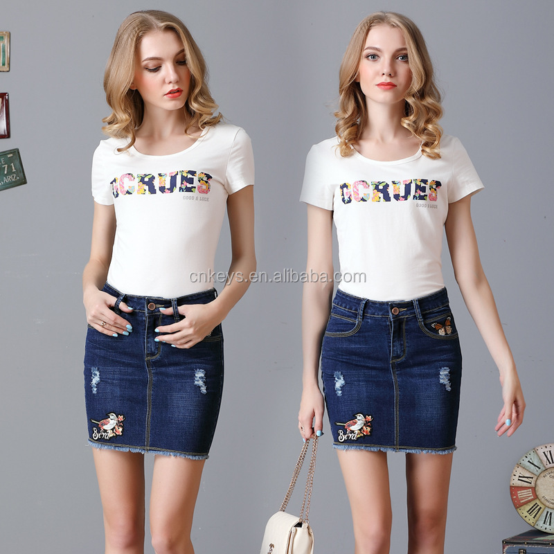 K1906A Vintage Short Mini Bodycon Women Jeans Skirts Summer Embroidery Denim Skirts For Ladies 2017