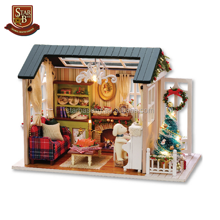 Handmade furniture doll house Christmas gift wooden miniature doll houses