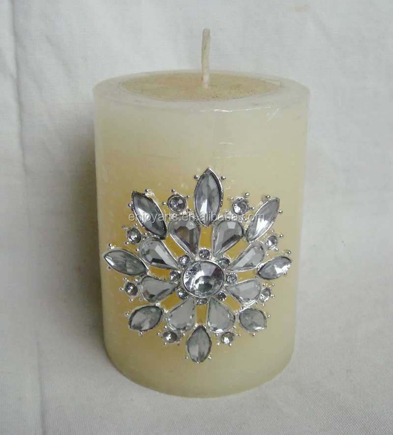 Silver Plating Snowflake Design Acrylic Inlaid Metal Candle Pin( P36066c)