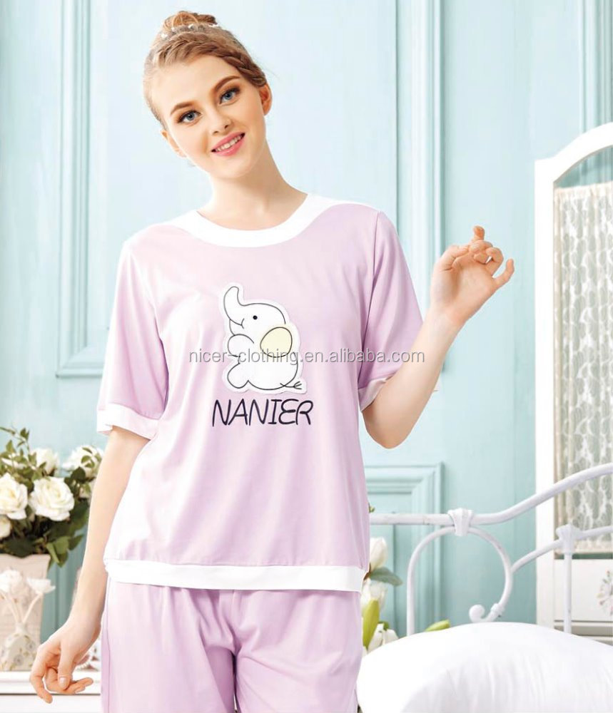 Fashion women Plain Pajama/Short Sleeved T-shirt Sleepwear/Ladies Lounge Wear