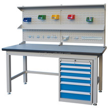 Heavy Duty Industrial Steel Work bench with Drawers and Tool hanging panel