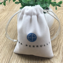 Custom White Velvet Pouch For Jewelry