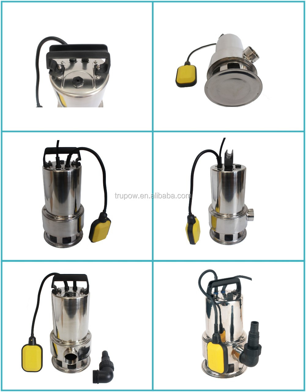 Trupow Low Cost 1100W Stainless Steel Submersible Dirty Water Pump