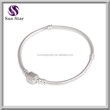 Plain Clasp Pure 925 silver snake chain bracelet china jewelry 7.5 Inches