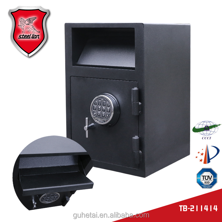 Hotel/bank safe deposit box with coin slot for droping cash money