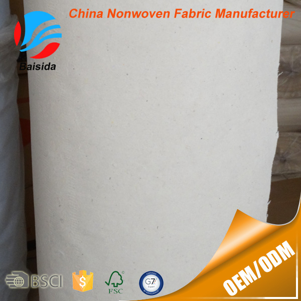 100% Cotton Nonwoven Fusible Interlining Fabric Embroidery Backing Paper For Garment