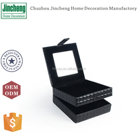 Black gridstitched leather jewellery holder, luxury leather jewelry gift box, jewelry packaging box
