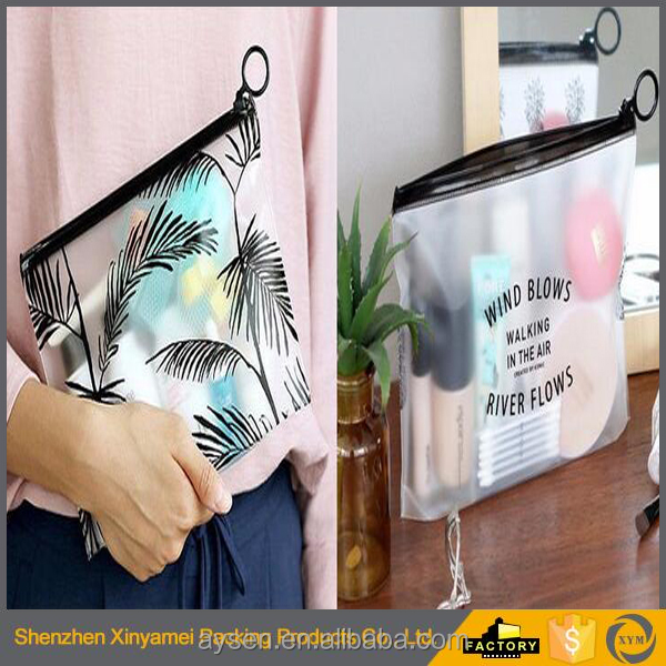 Black Zipper Waterproof PVC Make up Cosmetic Bag , Flat Clear Transparent Travel Storage Bag for Cosmetic , Women Make up Pouch