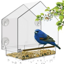 Window Bird Feeder with High Pitched Roof. Removable Sliding Tray & Drain Holes. Large Size, 100% Clear Acrylic