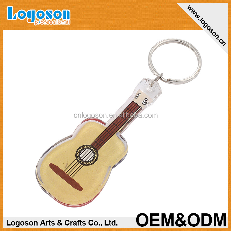 2016 Wholesale guitar design custom shape plastic keyring