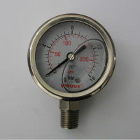 high accuracy oil filled bourdon tube pressure gauge
