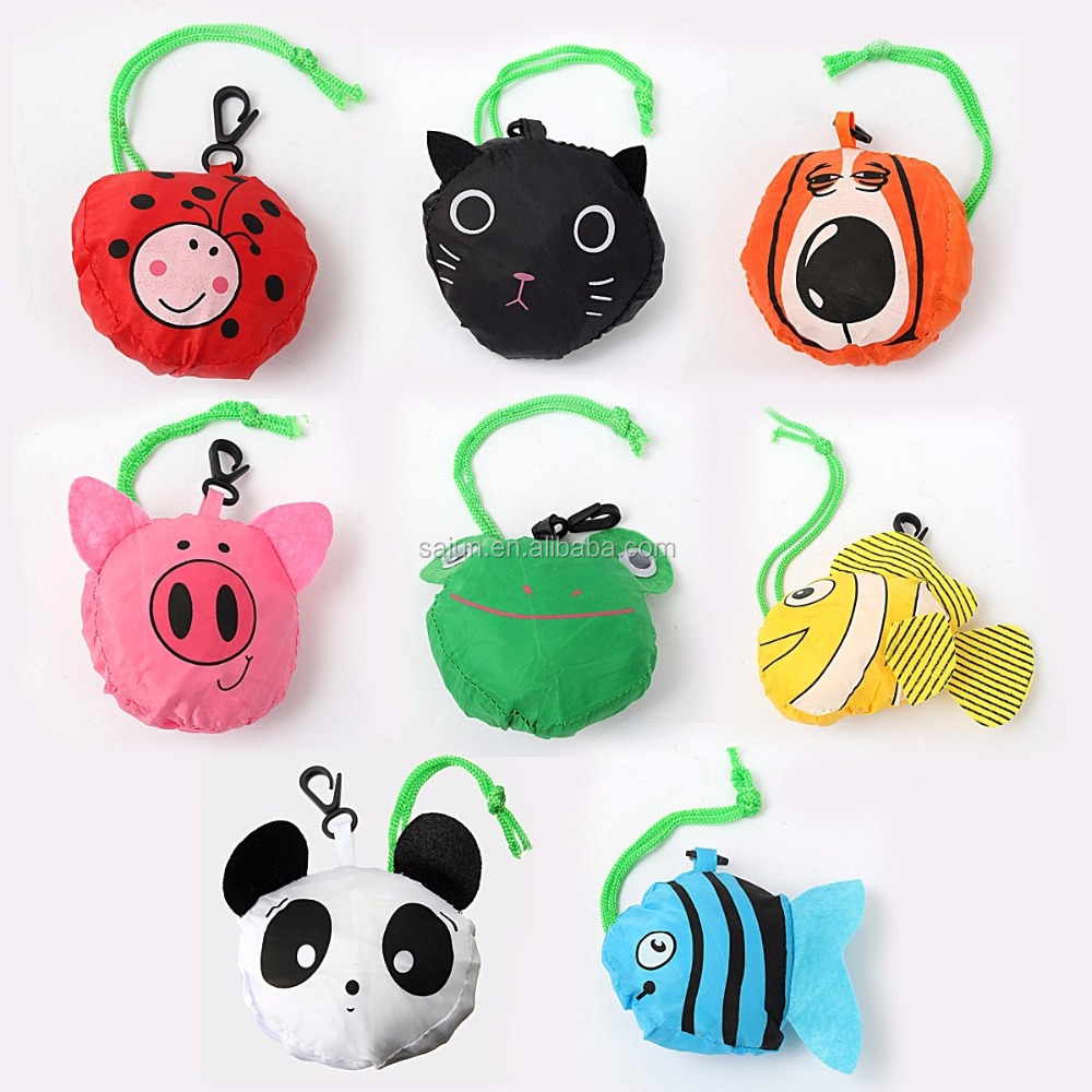 All kinds of animal shape nylon foldable compact reusable shopping bags