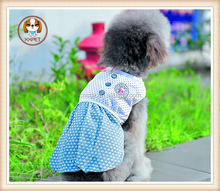 Cute Puppy Pets Small Dogs Clothes Polka Dots Print Bowknot Decor Dress