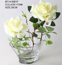 Baoding High quality cream rose flowers artificial with acrylic water in glass pot