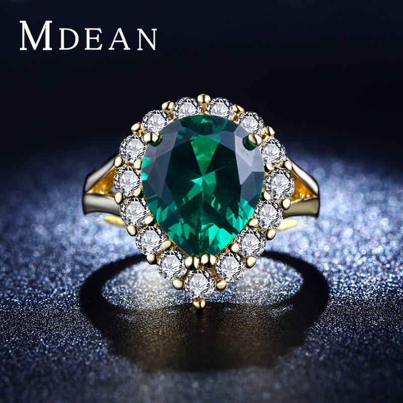 MDEAN 18K Gold Plated rings cz diamond jewelry Green gem inlaid big CZ diamond Engagement Classic Round rings for women MSR201