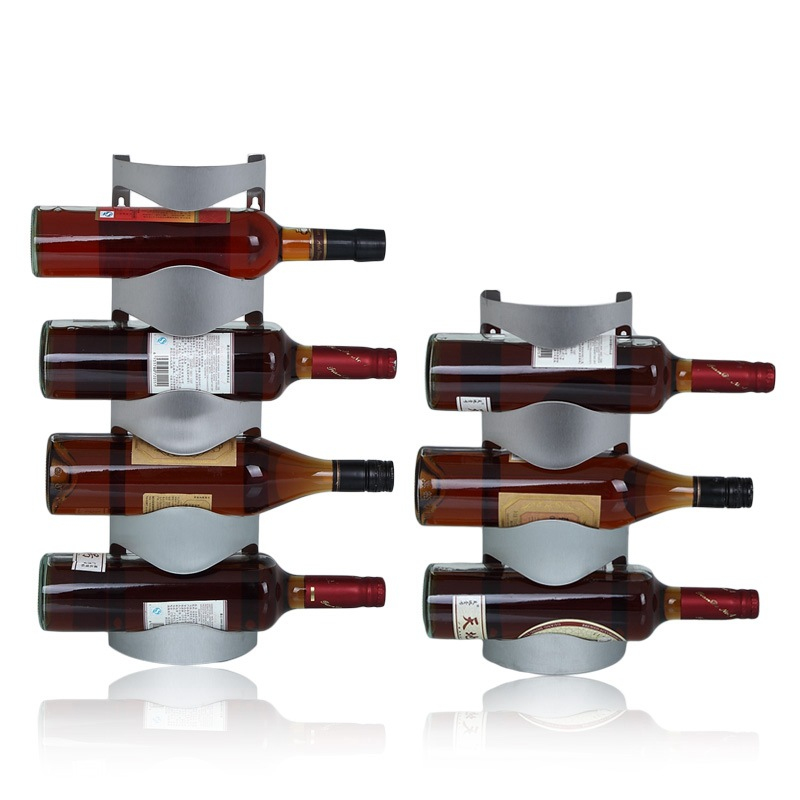 Wall mounted Stainless Steel Durable Wine Rack 3-4 Bottle Wine Display Rack