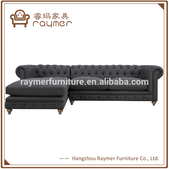 Chaise button tufted living room chesterfield L shape sofa sofa sectional chester
