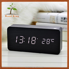 The New Creative Home Environmental Protection Electronic Desktop Square Digital Clock Led Wooden Table Alarm Clock