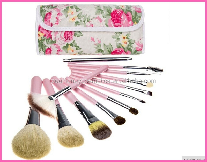 2015 Fashion 12 PCs goat hair makeup Brush Professional Makeup kits Cosmetic Facial Make Up Set tools With rose flower Bag