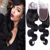 Mink Peruvian hair body wave silk base closure with baby hair 8''-22'' top closure