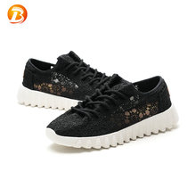 Wholesale ladies breathable lightweight black lace running casual shoes