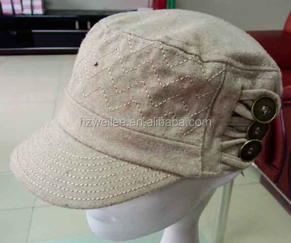 WLLS030343 100%Fannel khaki military caps hats with metal button