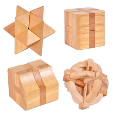 High Quality Beech Wood 3D Assembly Educational Wooden Toys Traditional Jigsaw Burr Puzzle For Child