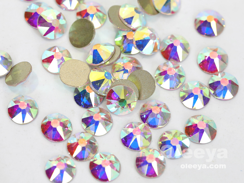 Best Quality 2088 16 Cut 8 Big 8 Small Facets Crystal AB Flat Back Non Hot Fix Nail Rhinestones For Nail Art