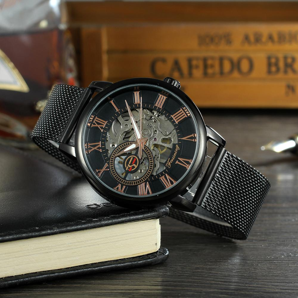 New Arrive ! Fashion Men Skeleton Mechanical Automatic Mesh Watches