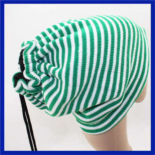 New design custom knitted hat gloves and scarf winter warm man beanie hat green striped