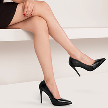 A0110 2017 fashion new ladies black genuine leather shoes safety office high heels