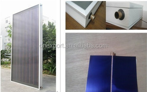 Flat solar thermal panel with copper Bluetec eta plus selective coating