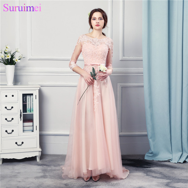 Peach Pink Bridesmaid Dresses Long Chiffon Floor Length Fashion Lace Applique Brides Maid Dress