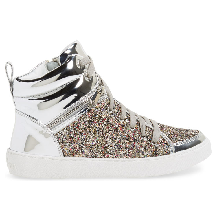 Mode citi tendances confortable rose argent glitter gros chine kid chaussures