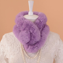 Genuine winter rabbit fur scarf with rabbit fur ball wholesale fur neck warmer