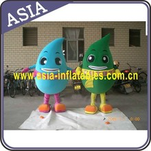 Adult green and blue water drop mascot costume, cheap advertising fur water drop costume for environmental activity