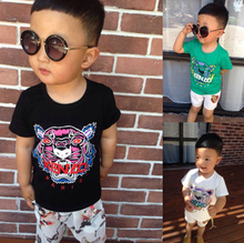 children T-shirts 2015 summer new tiger printed fashion boys cotton tops