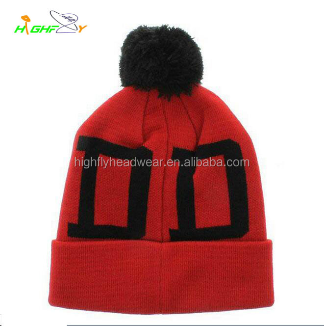 2015 Top quality acrylic red custom free pom beanie jacquard logo knit slouchy beanie caps and hats