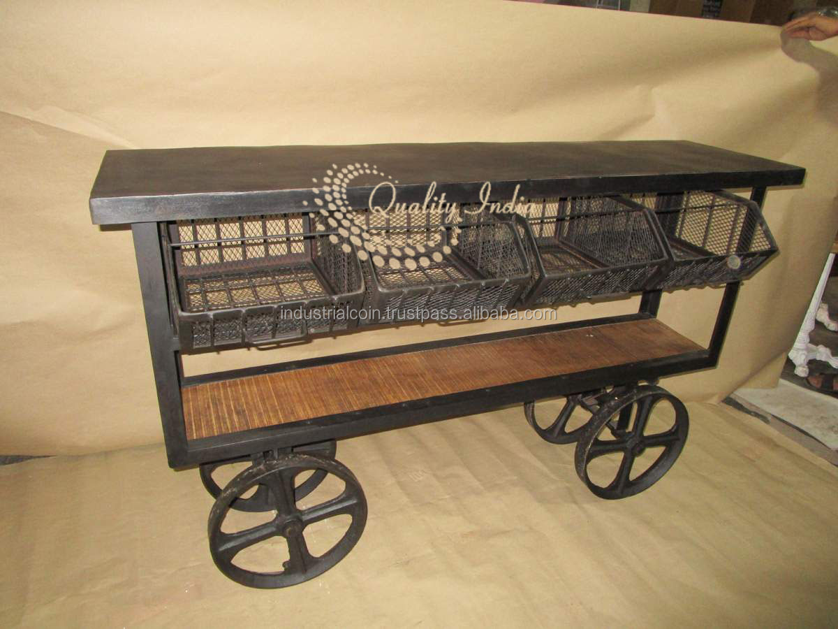 Antique Industrial Trolley With Shelves