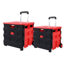 Factory Price Wholesale Trolley Supermarket Vegetable Market Grocery Store Folding Plastic Shopping Cart
