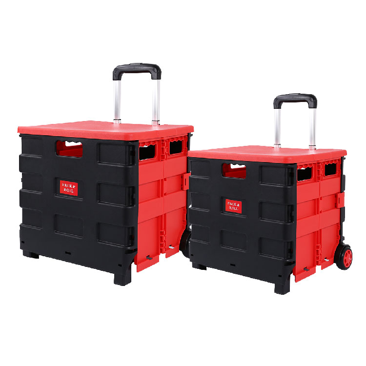 New Product Wholesale Big Wheel High Pull Rod Trolley Supermarket Vegetable Market Grocery Store Folding Plastic Shopping cart